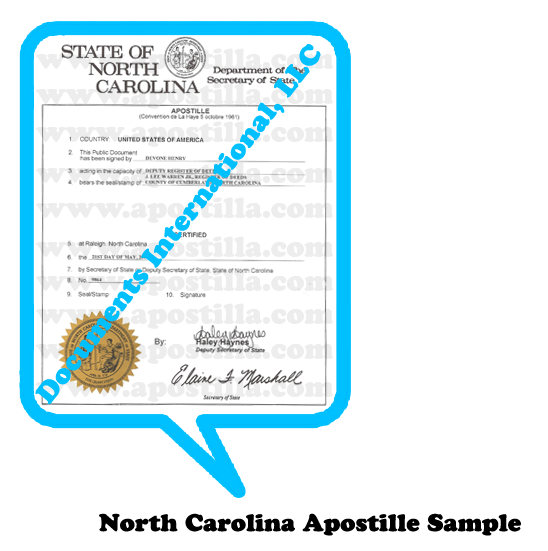 North Carolina apostille Apostilla de Carolina del Norte